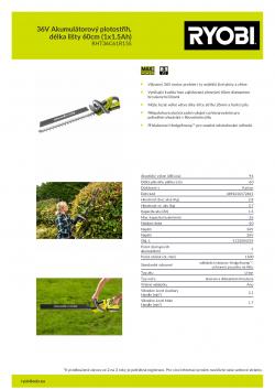 RYOBI RHT36C61R 36V Akumulátorový plotostřih, délka lišty 60cm (1x1.5Ah) 5133004319 A4 PDF