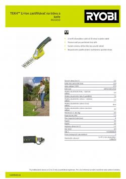 RYOBI RGS410 TEK4™ Li-Ion zastřihávač na trávu a keře 5133000678 A4 PDF