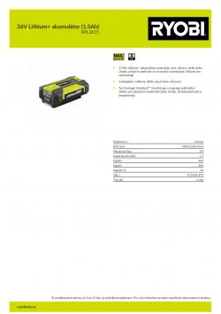 RYOBI BPL3615 36V Lithium+ akumulátor (1.5Ah) 5133005291 A4 PDF