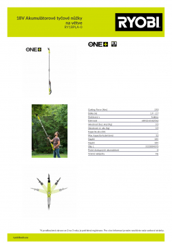 RYOBI RY18PLA 18V Akumulátorové tyčové nůžky na větve 5133004575 A4 PDF