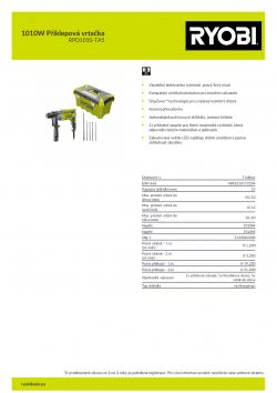 RYOBI RPD1010 1010W Příklepová vrtačka 5133004300 A4 PDF