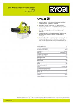 RYOBI RY18FGA 18V Akumulátorový mlhovač (1x 5.0Ah) 5133005073 A4 PDF