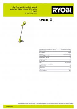 RYOBI RY18LT25A 18V Akumulátorová strunová sekačka, šířka záběru 25cm (1x 1.5Ah) 5133005016 A4 PDF