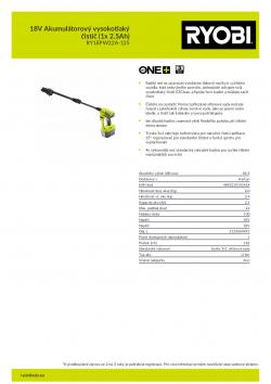 RYOBI RY18PW22A 18V Akumulátorový vysokotlaký čistič (1x 2.5Ah) 5133004991 A4 PDF