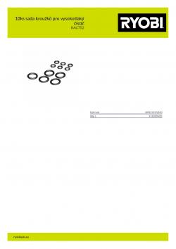 RYOBI RAC752 10ks sada kroužků pro vysokotlaký čistič 5132005023 A4 PDF