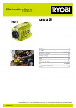 RYOBI RY18BI150A 150W Akumulátorový invertor 5133004895 A4 PDF