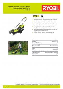RYOBI RLM1833B 18V Akumulátorová sekačka na trávu, šířka záběru 33cm 5133004305 A4 PDF