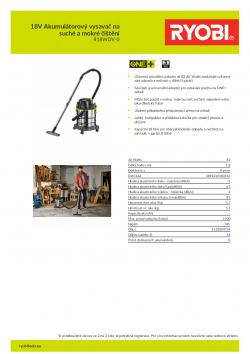 RYOBI R18WDV 18V Akumulátorový vysavač na suché a mokré čištění 5133004724 A4 PDF