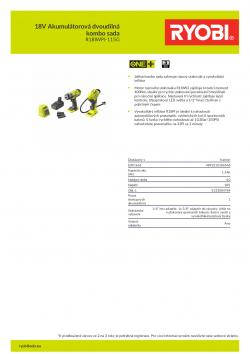 RYOBI R18IWPI-115G 18V Akumulátorová dvoudílná kombo sada 5133004769 A4 PDF