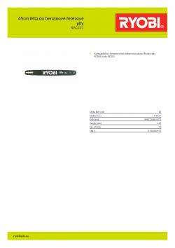 RYOBI RAC231 45cm lišta do benzínové řetězové pily 5132002477 A4 PDF