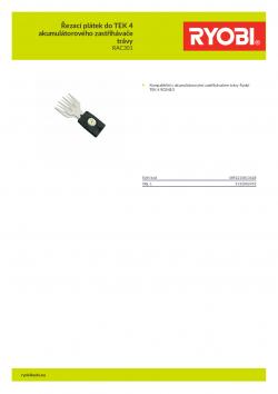 RYOBI RAC301 Řezací plátek do TEK 4 akumulátorového zastřihávače trávy 5132002452 A4 PDF