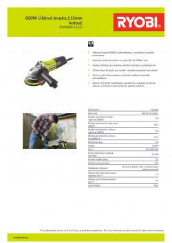 RYOBI RAG800-115G 800W Úhlová bruska,115mm kotouč 5133002518 A4 PDF
