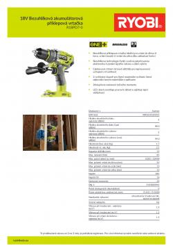 RYOBI R18PD7 18V Bezuhlíková akumulátorová příklepová vrtačka 5133003941 A4 PDF