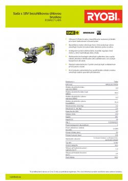 RYOBI R18AG7 Sada s 18V bezuhlíkovou úhlovou bruskou 5133004231 A4 PDF