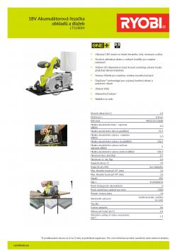 RYOBI LTS180 18V Akumulátorová řezačka obkladů a dlažeb 5133000154 A4 PDF
