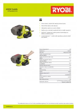 RYOBI EPN6082 600W Hoblík 5133000350 A4 PDF