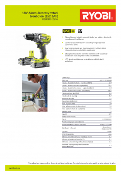 RYOBI R18DD3 18V Akumulátorový vrtací šroubovák (2x2.5Ah) 5133003349 A4 PDF