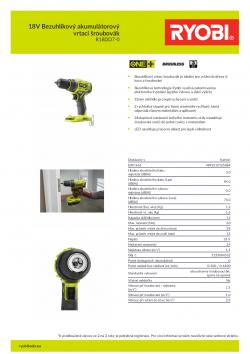 RYOBI R18DD7 18V Bezuhlíkový akumulátorový vrtací šroubovák 5133004532 A4 PDF