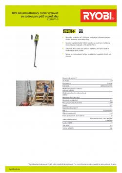 RYOBI R18HVF 18V Akumulátorový ruční vysavač se sadou pro péči o podlahu 5133003835 A4 PDF