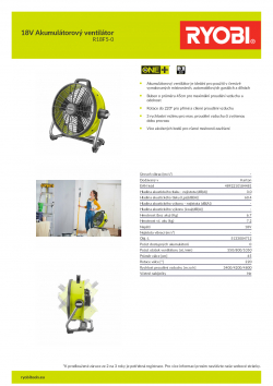 RYOBI R18F5 18V Akumulátorový ventilátor 5133004712 A4 PDF