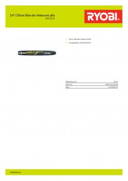 """RYOBI RAC261 14""""/35cm lišta do řetězové pily 5132004772 A4 PDF"""