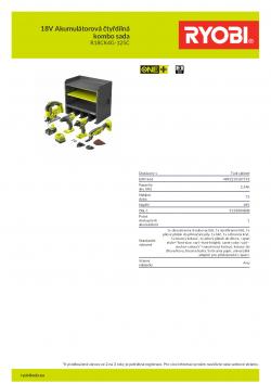 RYOBI R18CK4G-125C 18V Akumulátorová čtyřdílná kombo sada 5133004808 A4 PDF