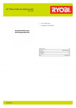 """RYOBI RAC262 14""""/35cm řetěz do řetězové pily 5132004773 A4 PDF"""