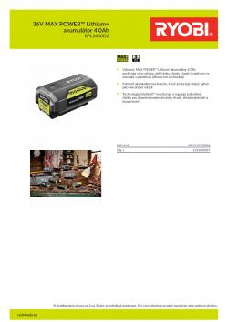 RYOBI BPL3640D2 36V MAX POWER™ Lithium+ akumulátor 4.0Ah 5133004457 A4 PDF