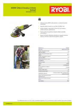 RYOBI RAG600 600W Úhlová bruska,115mm kotouč 5133002487 A4 PDF