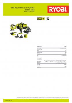 RYOBI R18CK4D-220S 18V Akumulátorová čtyřdílná kombo sada 5133004518 A4 PDF