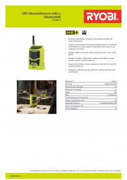RYOBI R18R 18V Akumulátorové rádio s Bluetooth® 5133002455 A4 PDF