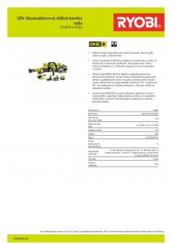 RYOBI R18CK4-252S 18V Akumulátorová 4dílná kombo sada 5133003578 A4 PDF