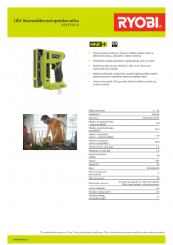 RYOBI R18ST50 18V Akumulátorová sponkovačka 5133004496 A4 PDF