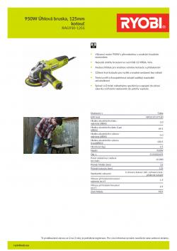RYOBI RAG950 950W Úhlová bruska, 125mm kotouč 5133002495 A4 PDF