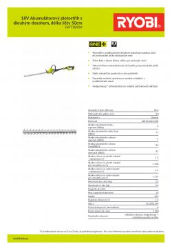 RYOBI RHT1850XLI 18V Akumulátorový plotostřih s dlouhým dosahem, délka lišty 50cm 5133001249 A4 PDF