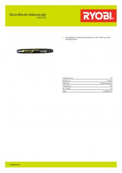 RYOBI RAC241 35cm lišta do řetězové pily 5132002711 A4 PDF