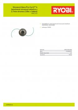 RYOBI RAC113 Strunová hlava Pro Cut II™ k benzínové strunové sekačce s 2.7mm strunou (10ks v balení) 5132002577 A4 PDF