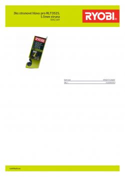 RYOBI RAC149 3ks strunové hlavy pro RLT3525, 1.5mm struna 5132003310 A4 PDF