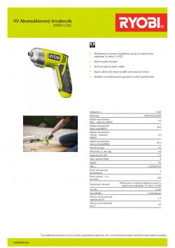 RYOBI R4SD 4V Akumulátorový šroubovák 5133001961 A4 PDF