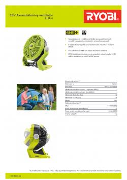 RYOBI R18F 18V Akumulátorový ventilátor 5133002612 A4 PDF
