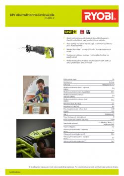 RYOBI R18RS 18V Akumulátorová šavlová pila 5133002637 A4 PDF