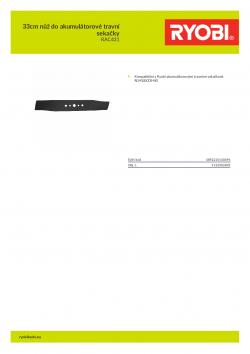 RYOBI RAC431 33cm nůž do akumulátorové travní sekačky 5132002805 A4 PDF