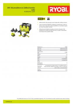 RYOBI R18DDAG-220S 18V Akumulátorová 2dílná kombo sada 5133003851 A4 PDF