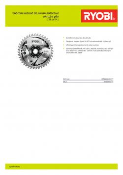 RYOBI CSB165A1 165mm kotouč do akumulátorové okružní pily 5132002774 A4 PDF