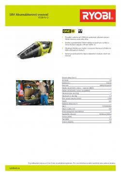 RYOBI R18HV 18V Akumulátorový vysavač 5133003834 A4 PDF