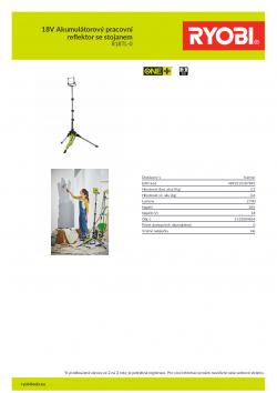 RYOBI R18TL 18V Akumulátorový pracovní reflektor se stojanem 5133004854 A4 PDF