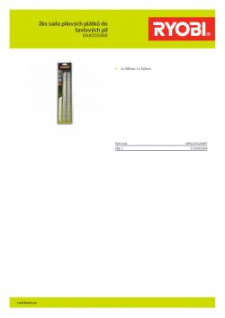 RYOBI RAK03SSRB 3ks sada pilových plátků do šavlových pil 5132002680 A4 PDF