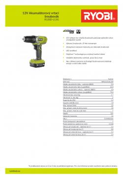 RYOBI R12SD 12V Akumulátorový vrtací šroubovák 5133002322 A4 PDF