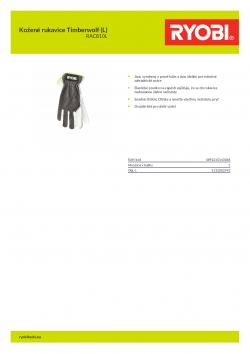 RYOBI RAC810L Kožené rukavice Timberwolf (L) 5132002993 A4 PDF