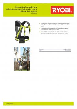 RYOBI RAC805 Ergonomické popruhy pro odvětvování prostřednictvím tyče a stříhání živých plotů 5132002765 A4 PDF